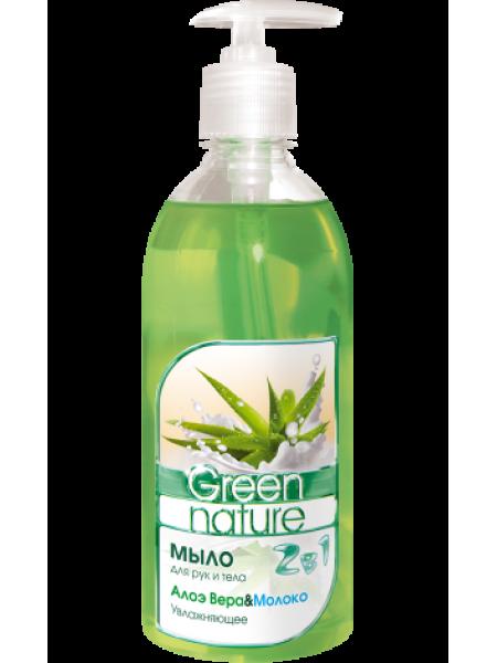 Мыло для рук и тела 2в1 Алоэ Вера&Молоко 500г Green nature