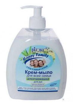 HAPPY Family Крем-мыло для рук АЛОЭ+РОМАШКА,500мл.