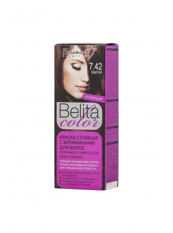 Стойкая краска для волос Б-КОЛОР (комплект) - 16 шт./БЕЛ-М Белита-колор/ Комплект Краска КАШТАН № 7.42 - 16 шт.